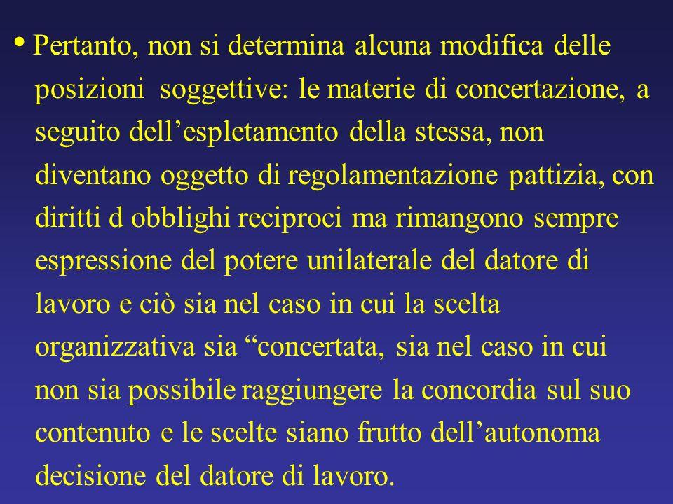 Pertanto, non si determina alcuna modifica delle posizioni soggettive: le materie di concertazione, a seguito dellespletamento della stessa, non diven