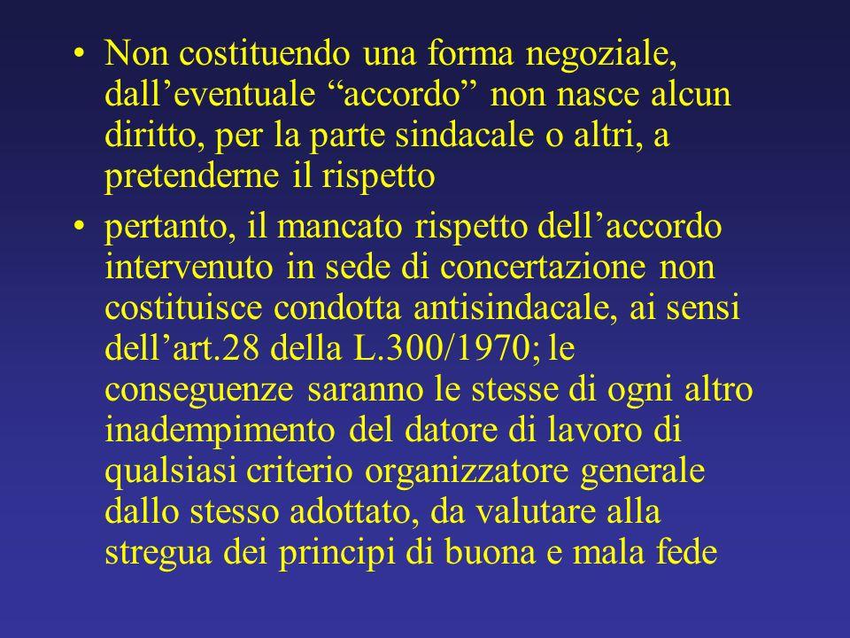 Non costituendo una forma negoziale, dalleventuale accordo non nasce alcun diritto, per la parte sindacale o altri, a pretenderne il rispetto pertanto