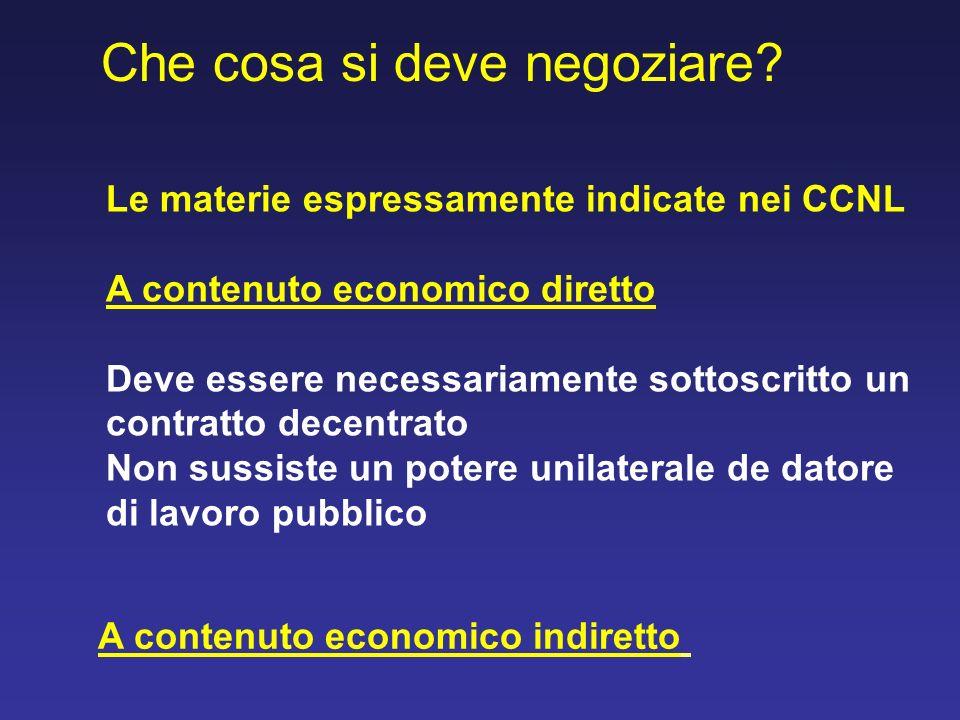 Che cosa si deve negoziare? Le materie espressamente indicate nei CCNL A contenuto economico diretto Deve essere necessariamente sottoscritto un contr