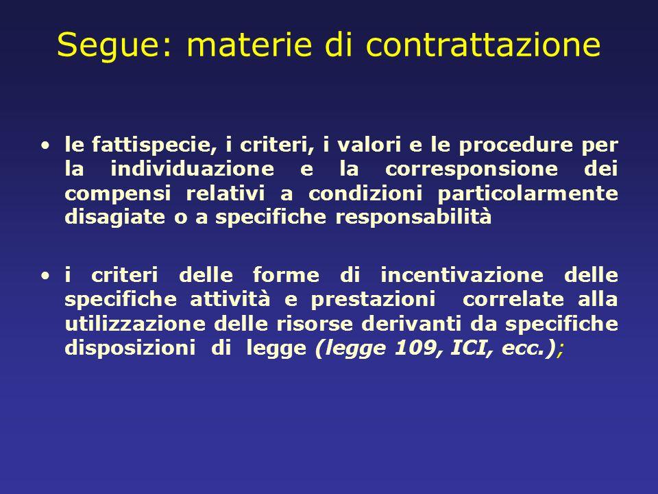 Segue: materie di contrattazione le fattispecie, i criteri, i valori e le procedure per la individuazione e la corresponsione dei compensi relativi a
