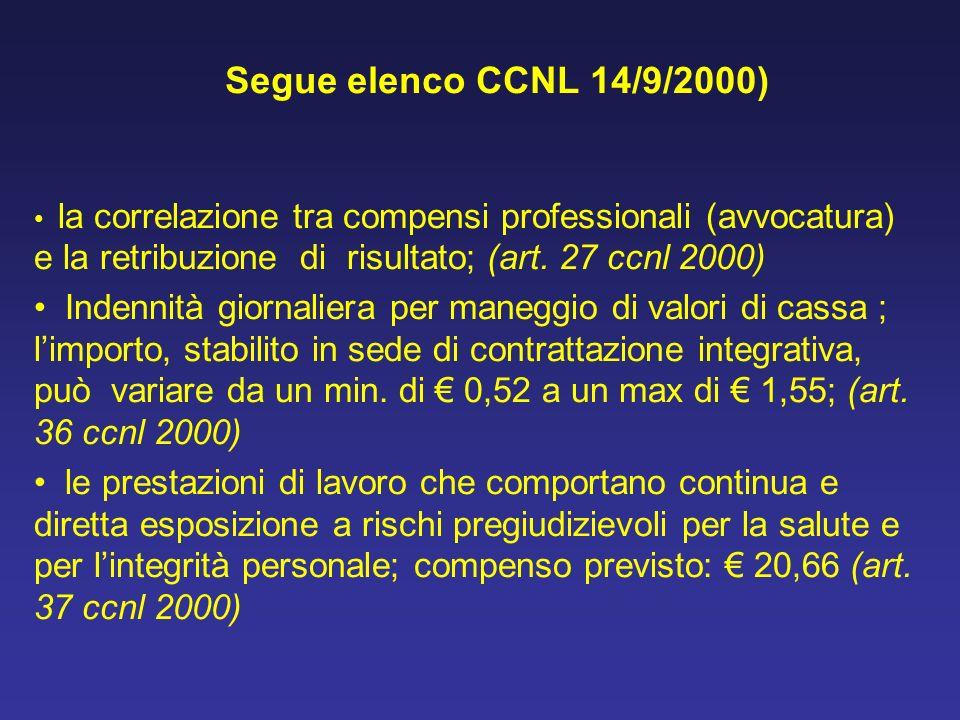 Segue elenco CCNL 14/9/2000) la correlazione tra compensi professionali (avvocatura) e la retribuzione di risultato; (art. 27 ccnl 2000) Indennità gio