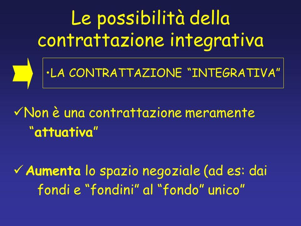 Le possibilità della contrattazione integrativa Non è una contrattazione meramente attuativa Aumenta lo spazio negoziale (ad es: dai fondi e fondini a