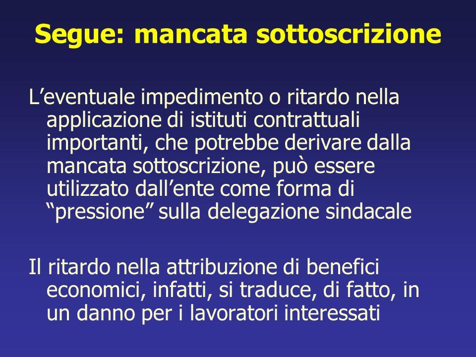 Segue: mancata sottoscrizione Leventuale impedimento o ritardo nella applicazione di istituti contrattuali importanti, che potrebbe derivare dalla man