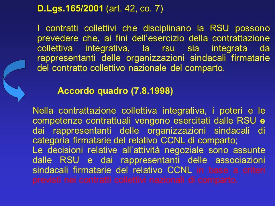 D.Lgs.165/2001 (art. 42, co. 7) I contratti collettivi che disciplinano la RSU possono prevedere che, ai fini dellesercizio della contrattazione colle
