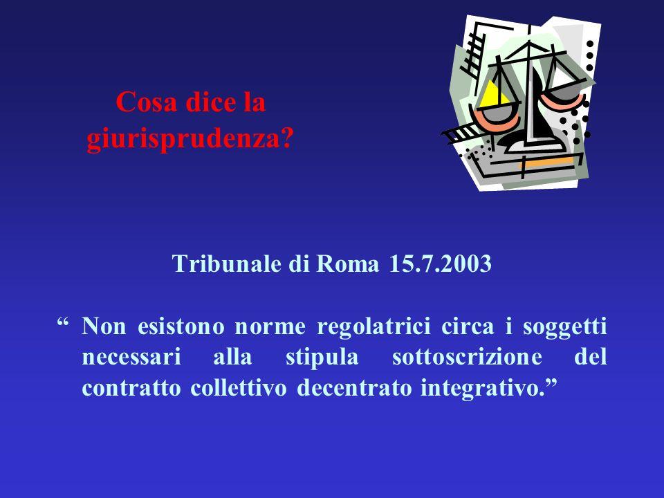 Cosa dice la giurisprudenza? Tribunale di Roma 15.7.2003 Non esistono norme regolatrici circa i soggetti necessari alla stipula sottoscrizione del con