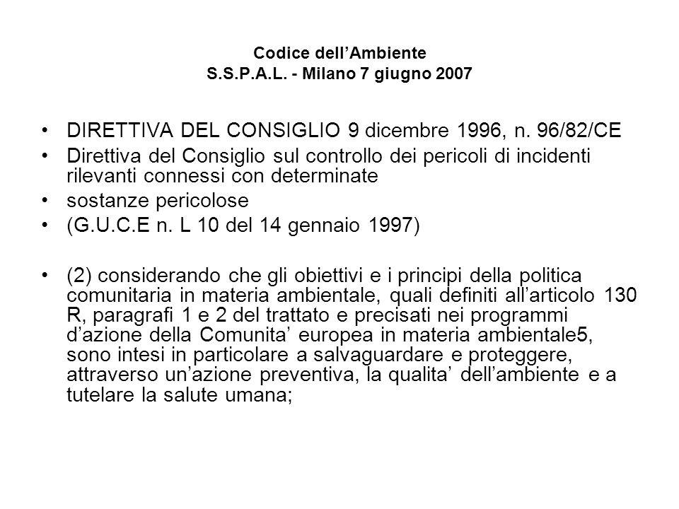 Codice dellAmbiente S.S.P.A.L. - Milano 7 giugno 2007 DIRETTIVA DEL CONSIGLIO 9 dicembre 1996, n. 96/82/CE Direttiva del Consiglio sul controllo dei p