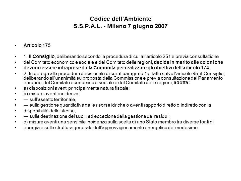 Codice dellAmbiente S.S.P.A.L. - Milano 7 giugno 2007 Articolo 175 1. Il Consiglio, deliberando secondo la procedura di cui all'articolo 251 e previa
