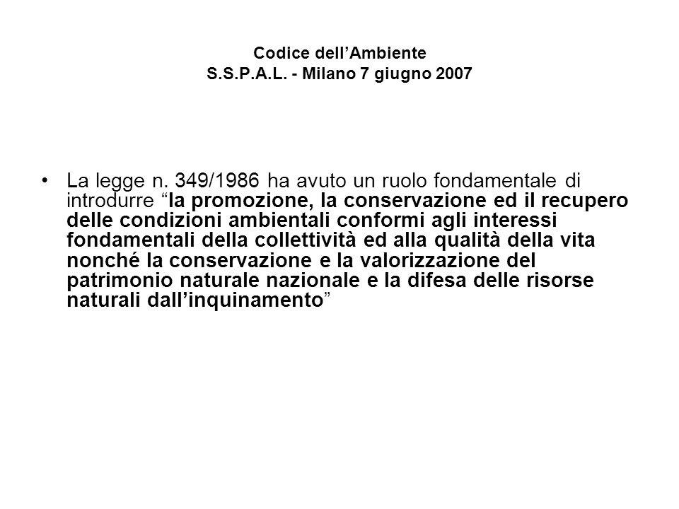 Codice dellAmbiente S.S.P.A.L. - Milano 7 giugno 2007 La legge n. 349/1986 ha avuto un ruolo fondamentale di introdurre la promozione, la conservazion