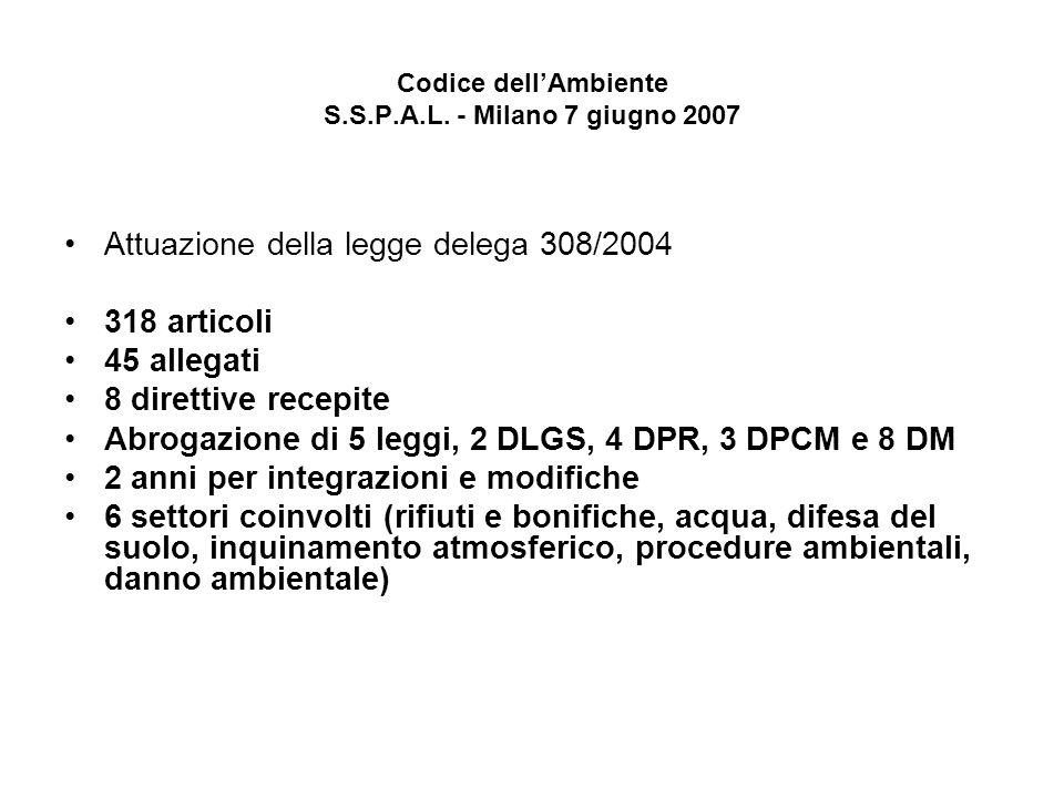 Codice dellAmbiente S.S.P.A.L. - Milano 7 giugno 2007 Attuazione della legge delega 308/2004 318 articoli 45 allegati 8 direttive recepite Abrogazione