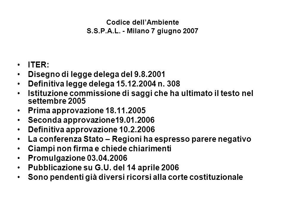 Codice dellAmbiente S.S.P.A.L. - Milano 7 giugno 2007 ITER: Disegno di legge delega del 9.8.2001 Definitiva legge delega 15.12.2004 n. 308 Istituzione
