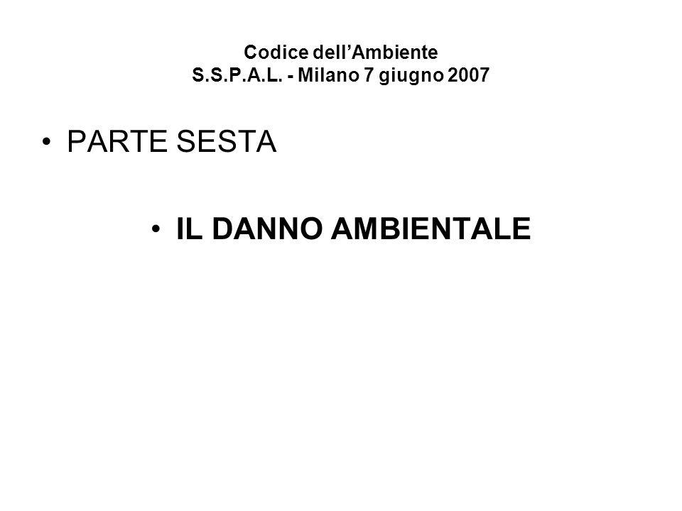 Codice dellAmbiente S.S.P.A.L. - Milano 7 giugno 2007 PARTE SESTA IL DANNO AMBIENTALE