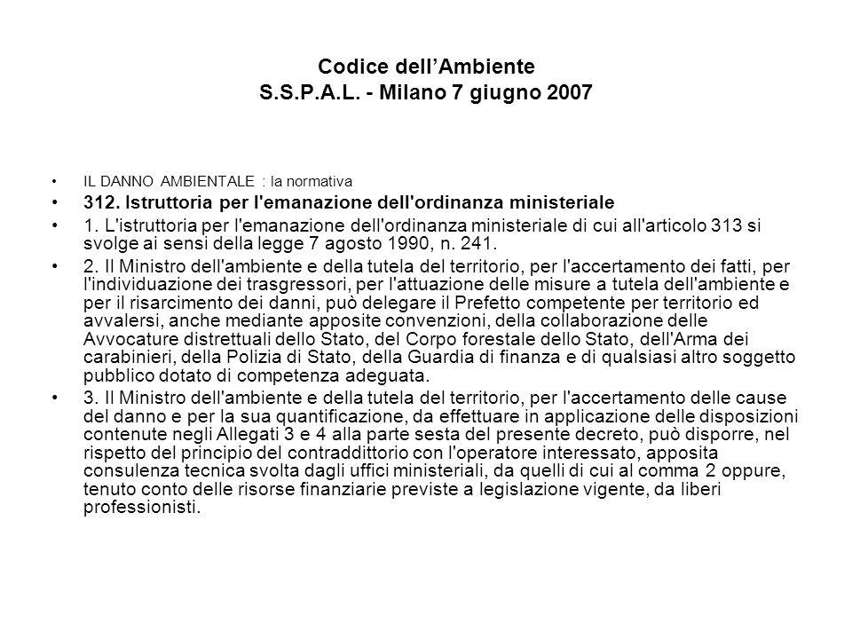 Codice dellAmbiente S.S.P.A.L. - Milano 7 giugno 2007 IL DANNO AMBIENTALE : la normativa 312. Istruttoria per l'emanazione dell'ordinanza ministeriale