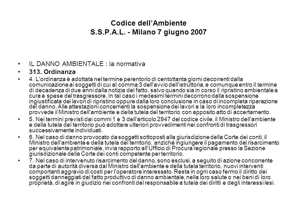 Codice dellAmbiente S.S.P.A.L. - Milano 7 giugno 2007 IL DANNO AMBIENTALE : la normativa 313. Ordinanza 4. L'ordinanza è adottata nel termine perentor