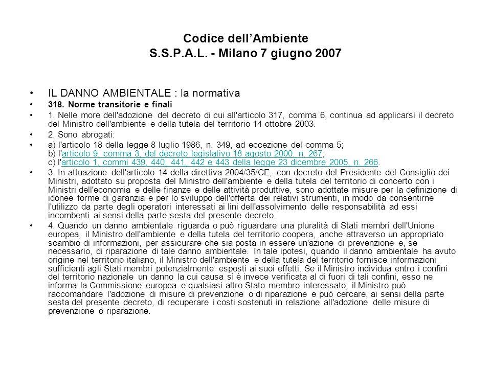 Codice dellAmbiente S.S.P.A.L. - Milano 7 giugno 2007 IL DANNO AMBIENTALE : la normativa 318. Norme transitorie e finali 1. Nelle more dell'adozione d