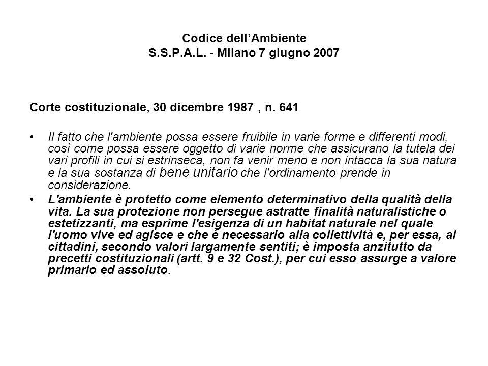 Codice dellAmbiente S.S.P.A.L. - Milano 7 giugno 2007 Corte costituzionale, 30 dicembre 1987, n. 641 Il fatto che l'ambiente possa essere fruibile in