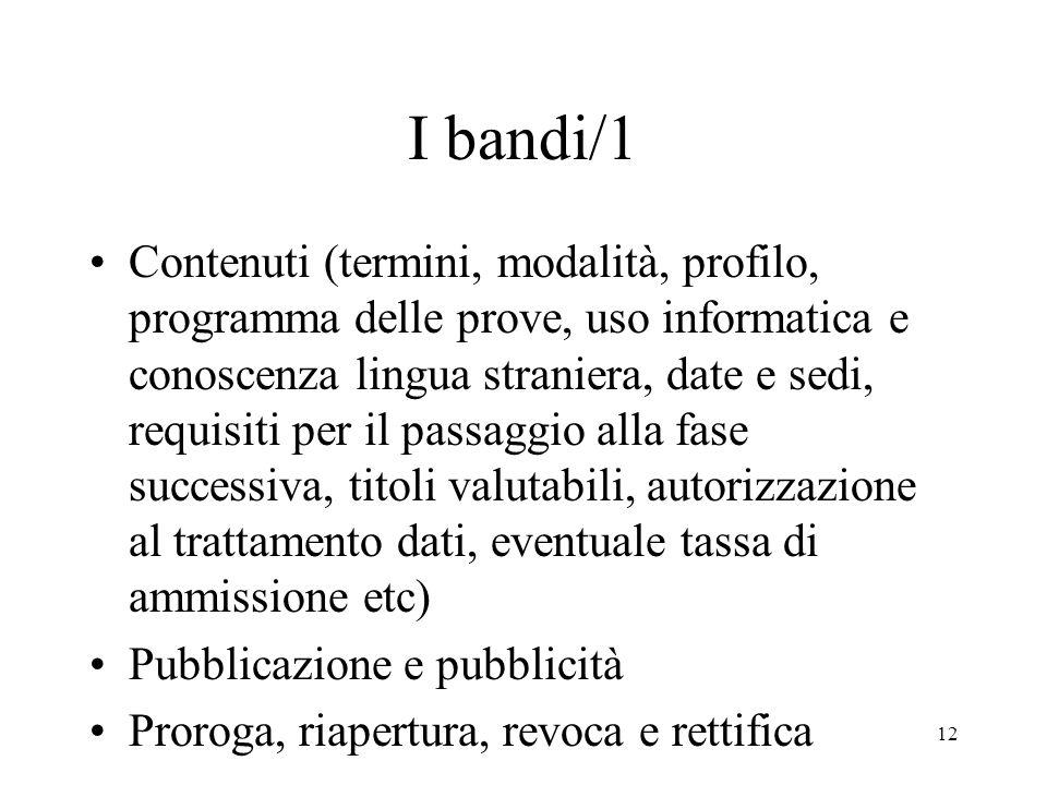 12 I bandi/1 Contenuti (termini, modalità, profilo, programma delle prove, uso informatica e conoscenza lingua straniera, date e sedi, requisiti per i