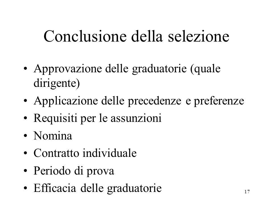 17 Conclusione della selezione Approvazione delle graduatorie (quale dirigente) Applicazione delle precedenze e preferenze Requisiti per le assunzioni