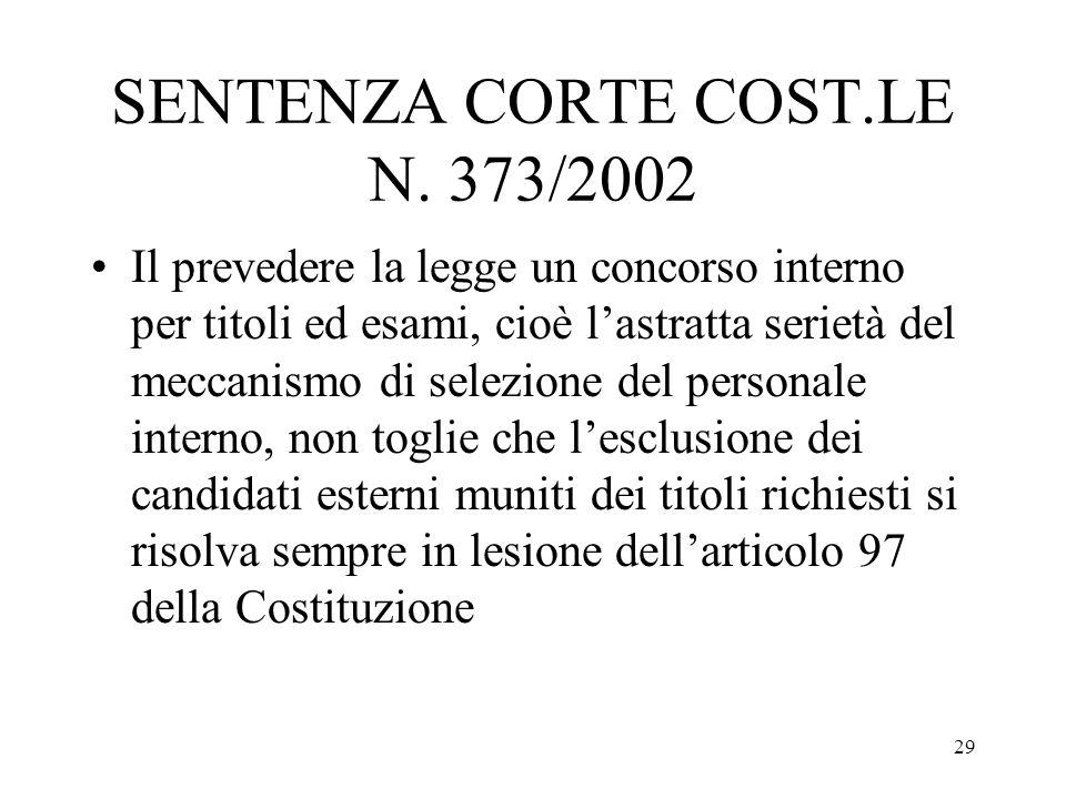 29 SENTENZA CORTE COST.LE N. 373/2002 Il prevedere la legge un concorso interno per titoli ed esami, cioè lastratta serietà del meccanismo di selezion