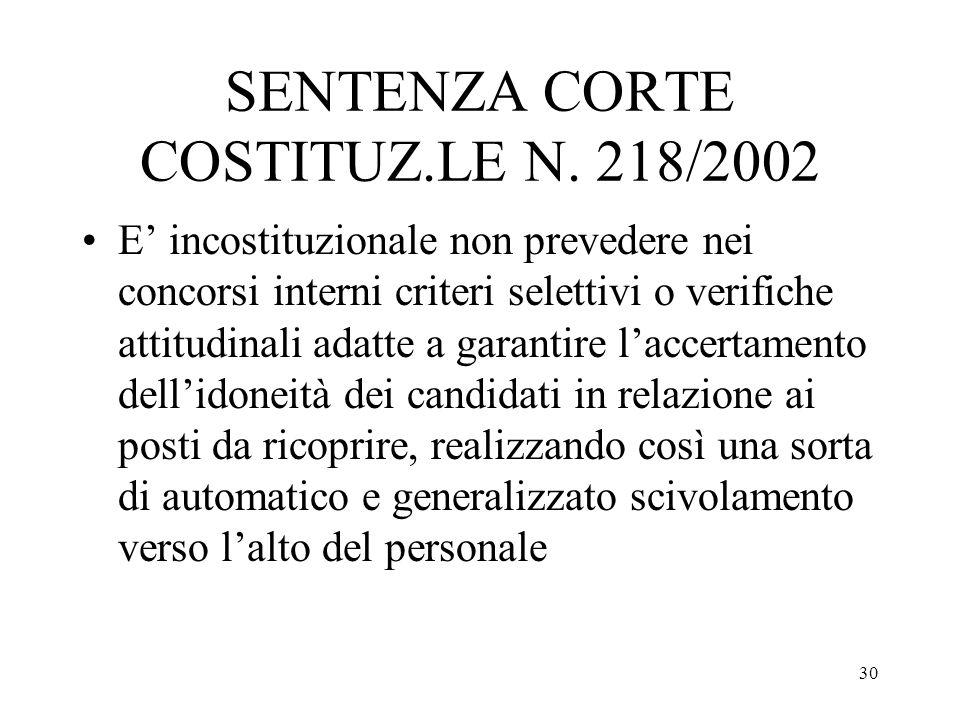 30 SENTENZA CORTE COSTITUZ.LE N. 218/2002 E incostituzionale non prevedere nei concorsi interni criteri selettivi o verifiche attitudinali adatte a ga