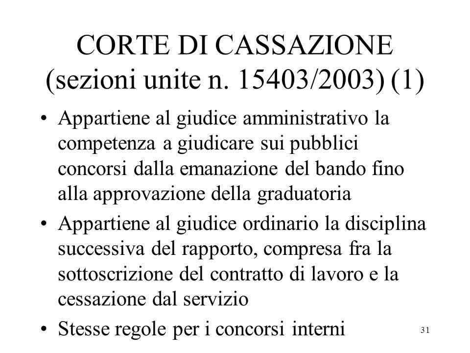 31 CORTE DI CASSAZIONE (sezioni unite n. 15403/2003) (1) Appartiene al giudice amministrativo la competenza a giudicare sui pubblici concorsi dalla em