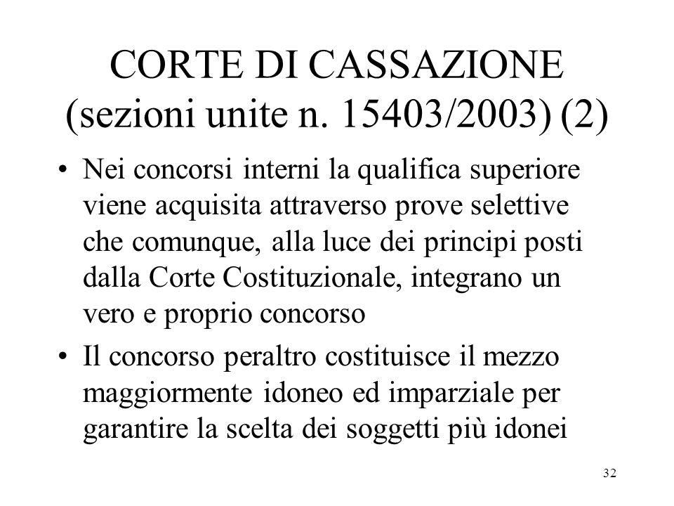 32 CORTE DI CASSAZIONE (sezioni unite n. 15403/2003) (2) Nei concorsi interni la qualifica superiore viene acquisita attraverso prove selettive che co