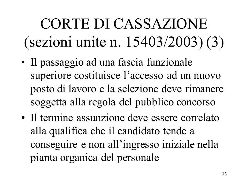 33 CORTE DI CASSAZIONE (sezioni unite n. 15403/2003) (3) Il passaggio ad una fascia funzionale superiore costituisce laccesso ad un nuovo posto di lav