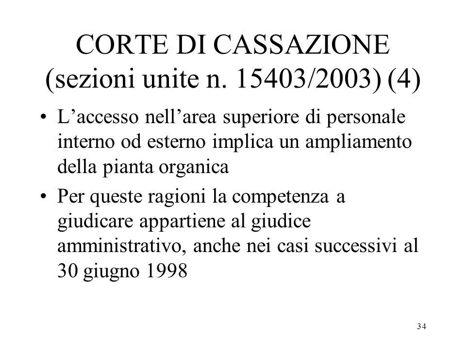 34 CORTE DI CASSAZIONE (sezioni unite n. 15403/2003) (4) Laccesso nellarea superiore di personale interno od esterno implica un ampliamento della pian