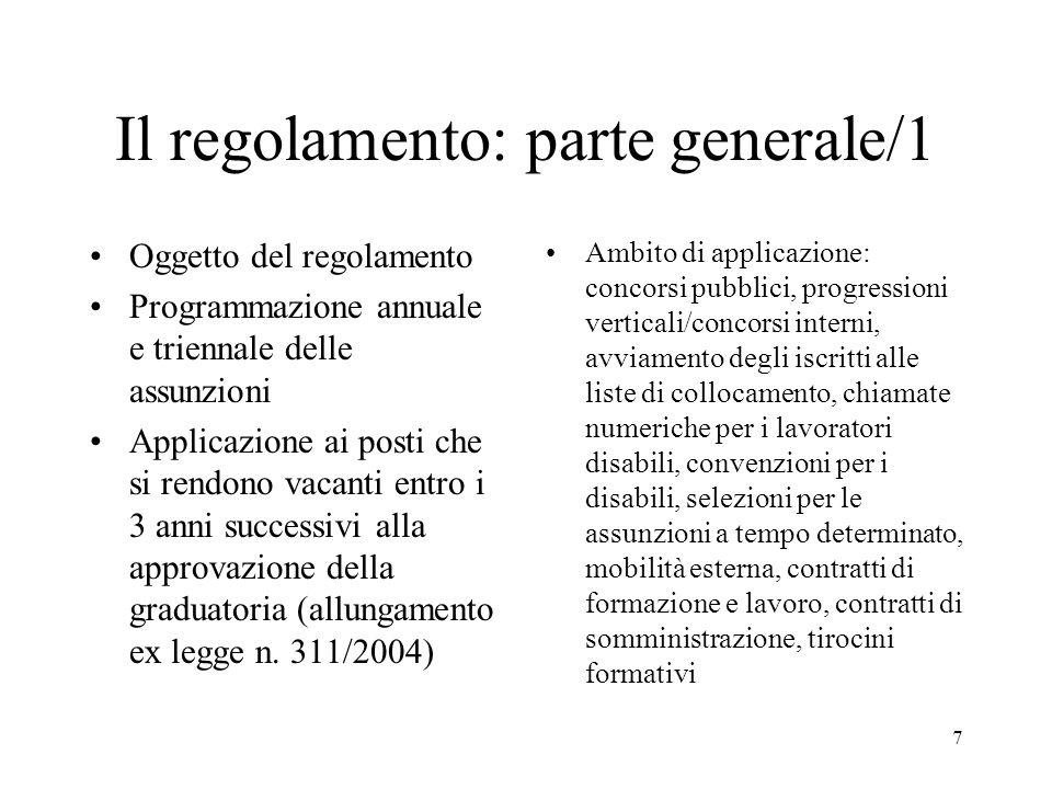 7 Il regolamento: parte generale/1 Oggetto del regolamento Programmazione annuale e triennale delle assunzioni Applicazione ai posti che si rendono va