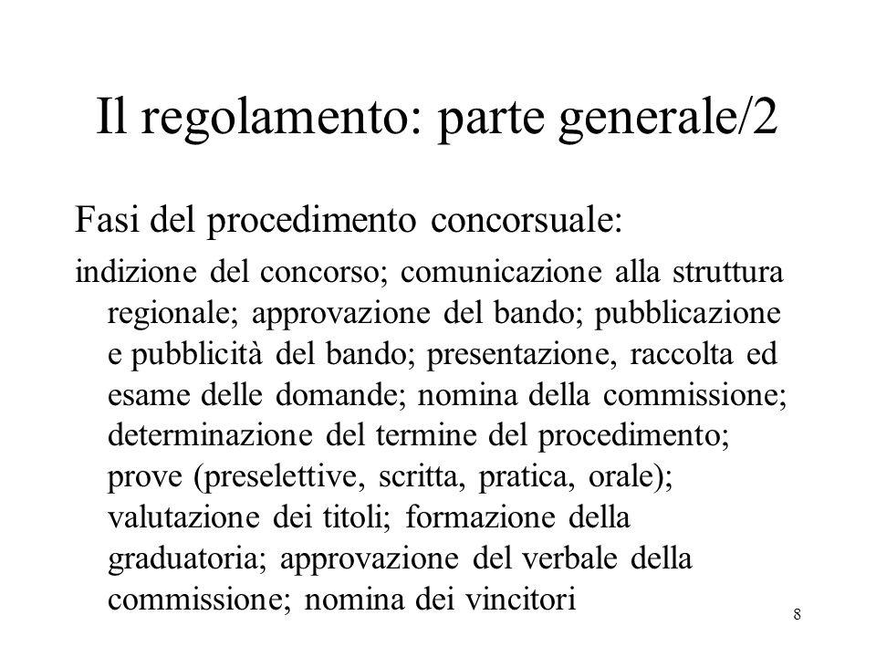 8 Il regolamento: parte generale/2 Fasi del procedimento concorsuale: indizione del concorso; comunicazione alla struttura regionale; approvazione del