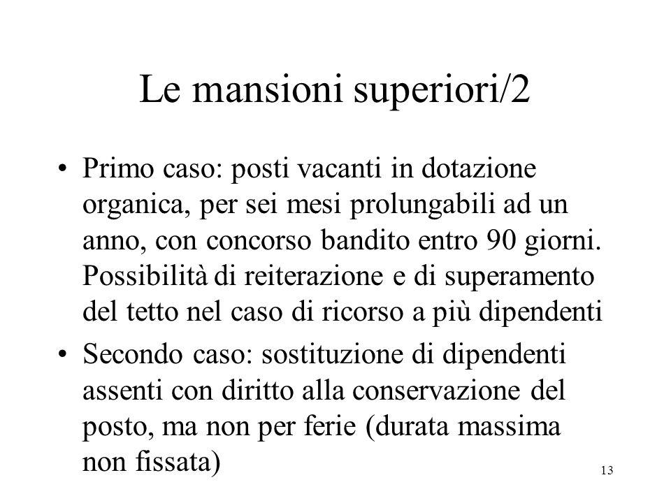 13 Le mansioni superiori/2 Primo caso: posti vacanti in dotazione organica, per sei mesi prolungabili ad un anno, con concorso bandito entro 90 giorni.