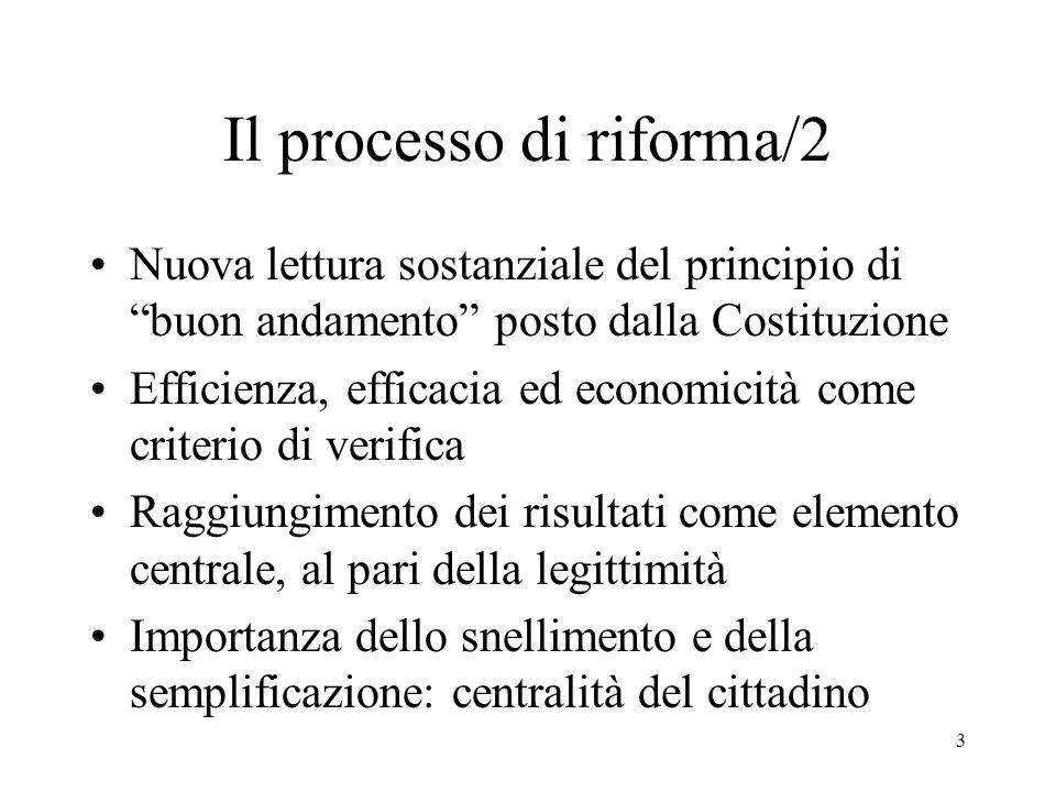 3 Il processo di riforma/2 Nuova lettura sostanziale del principio di buon andamento posto dalla Costituzione Efficienza, efficacia ed economicità come criterio di verifica Raggiungimento dei risultati come elemento centrale, al pari della legittimità Importanza dello snellimento e della semplificazione: centralità del cittadino