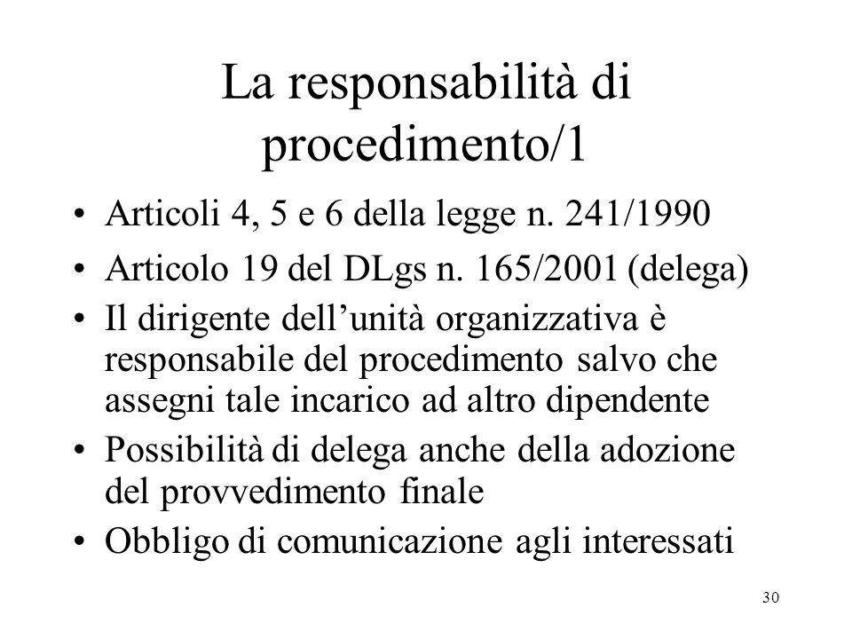 30 La responsabilità di procedimento/1 Articoli 4, 5 e 6 della legge n.