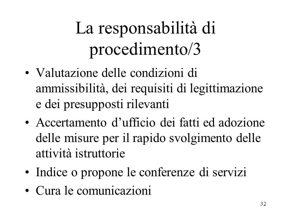 32 La responsabilità di procedimento/3 Valutazione delle condizioni di ammissibilità, dei requisiti di legittimazione e dei presupposti rilevanti Accertamento dufficio dei fatti ed adozione delle misure per il rapido svolgimento delle attività istruttorie Indice o propone le conferenze di servizi Cura le comunicazioni