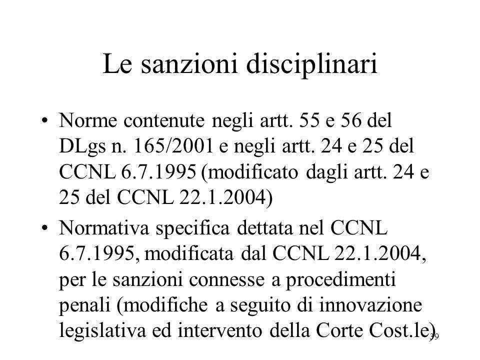 39 Le sanzioni disciplinari Norme contenute negli artt.