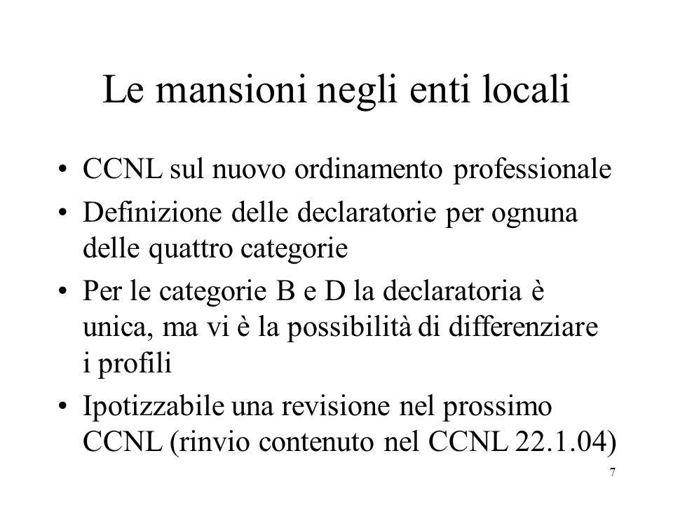7 Le mansioni negli enti locali CCNL sul nuovo ordinamento professionale Definizione delle declaratorie per ognuna delle quattro categorie Per le categorie B e D la declaratoria è unica, ma vi è la possibilità di differenziare i profili Ipotizzabile una revisione nel prossimo CCNL (rinvio contenuto nel CCNL 22.1.04)