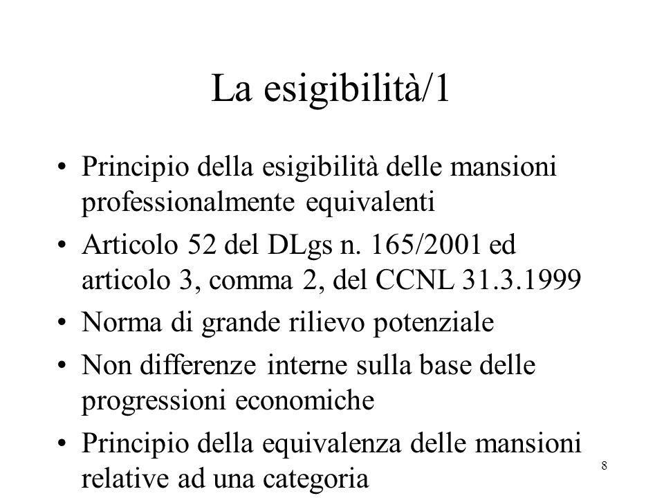 8 La esigibilità/1 Principio della esigibilità delle mansioni professionalmente equivalenti Articolo 52 del DLgs n.
