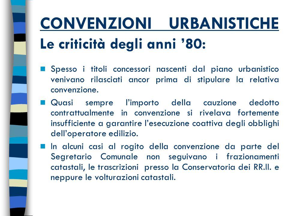 CONVENZIONI URBANISTICHE Le criticità degli anni 80: Spesso i titoli concessori nascenti dal piano urbanistico venivano rilasciati ancor prima di stipulare la relativa convenzione.