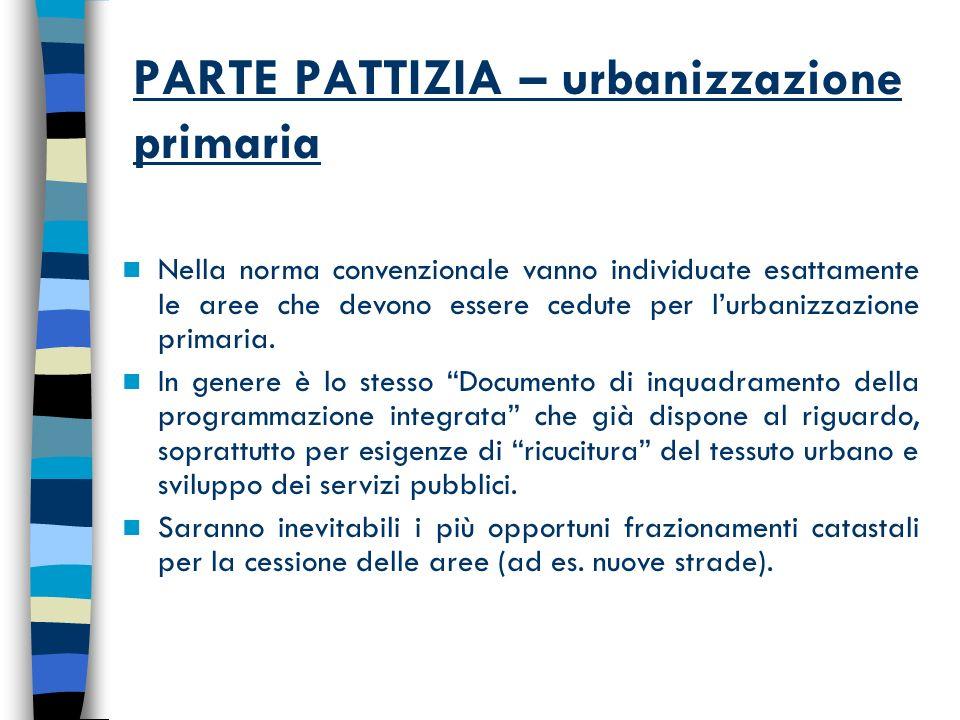 PARTE PATTIZIA – urbanizzazione primaria Nella norma convenzionale vanno individuate esattamente le aree che devono essere cedute per lurbanizzazione primaria.