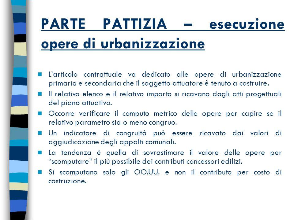 PARTE PATTIZIA – esecuzione opere di urbanizzazione Larticolo contrattuale va dedicato alle opere di urbanizzazione primaria e secondaria che il soggetto attuatore è tenuto a costruire.