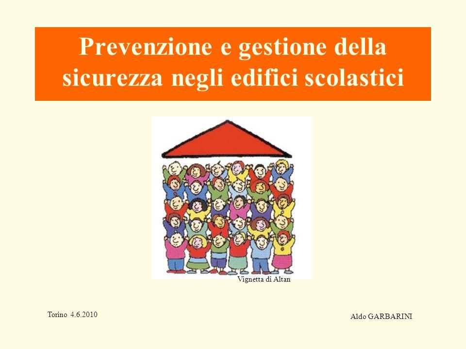 Prevenzione e gestione della sicurezza negli edifici scolastici Torino 4.6.2010 Aldo GARBARINI Vignetta di Altan