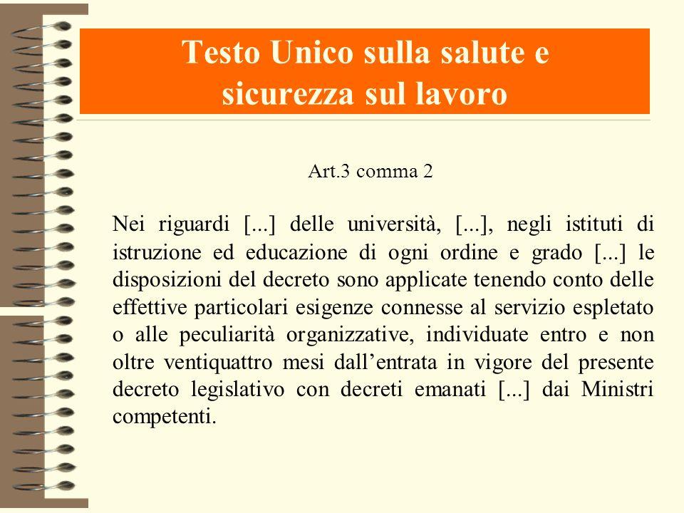 Testo Unico sulla salute e sicurezza sul lavoro Art.3 comma 2 Nei riguardi [...] delle università, [...], negli istituti di istruzione ed educazione d