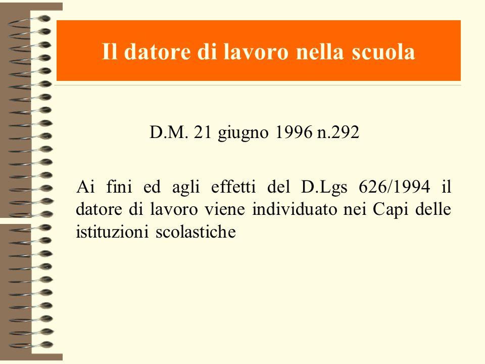 Il datore di lavoro nella scuola D.M. 21 giugno 1996 n.292 Ai fini ed agli effetti del D.Lgs 626/1994 il datore di lavoro viene individuato nei Capi d