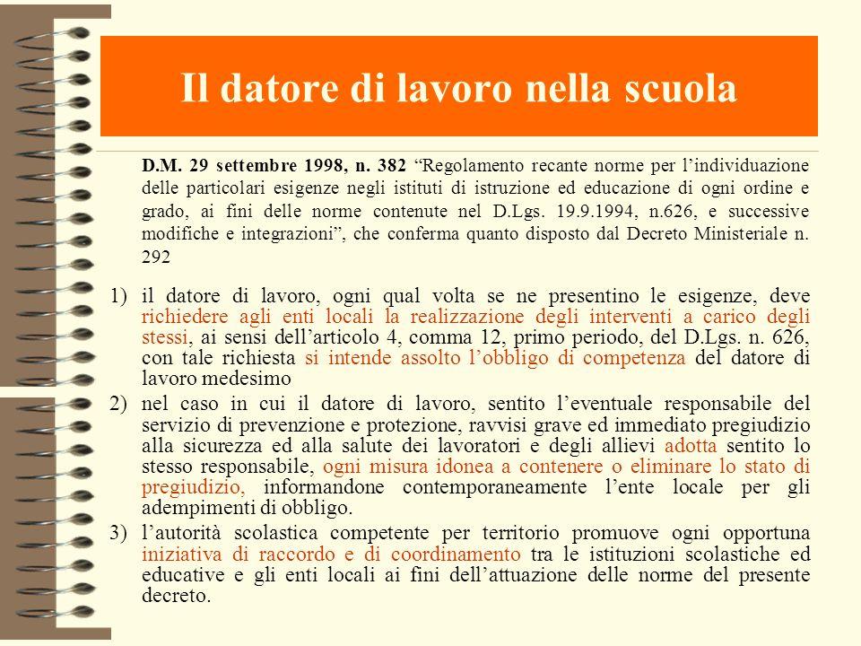Il datore di lavoro nella scuola D.M. 29 settembre 1998, n. 382 Regolamento recante norme per lindividuazione delle particolari esigenze negli istitut
