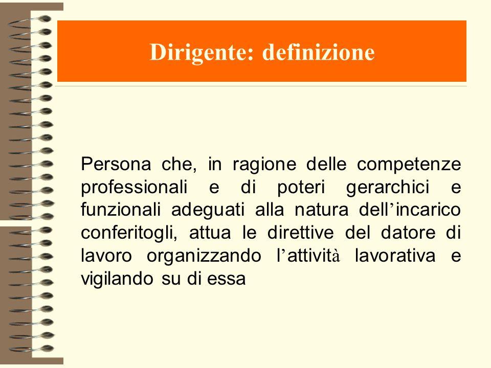 Dirigente: definizione Persona che, in ragione delle competenze professionali e di poteri gerarchici e funzionali adeguati alla natura dell incarico c
