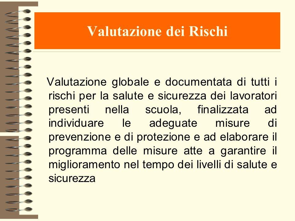 Valutazione dei Rischi Valutazione globale e documentata di tutti i rischi per la salute e sicurezza dei lavoratori presenti nella scuola, finalizzata