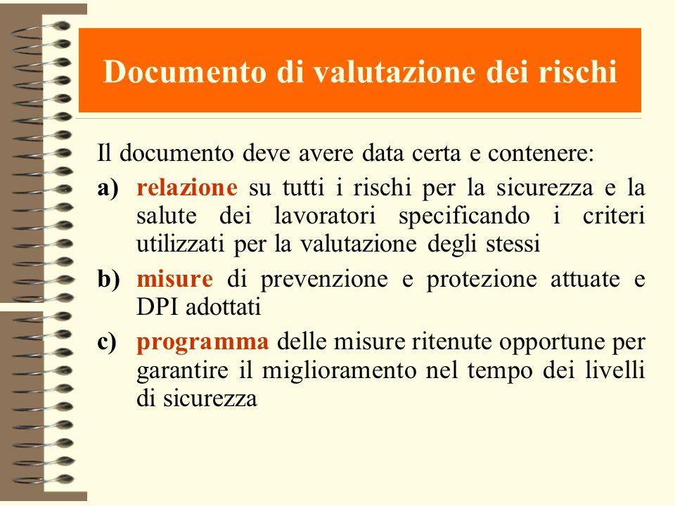 Documento di valutazione dei rischi Il documento deve avere data certa e contenere: a)relazione su tutti i rischi per la sicurezza e la salute dei lav