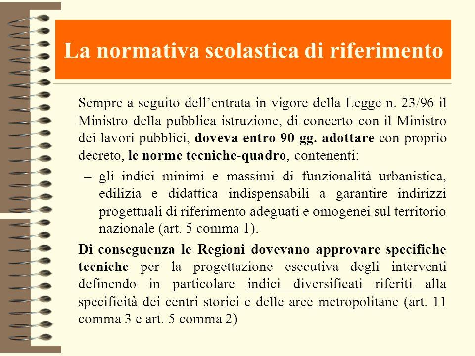 La normativa scolastica di riferimento Sempre a seguito dellentrata in vigore della Legge n. 23/96 il Ministro della pubblica istruzione, di concerto