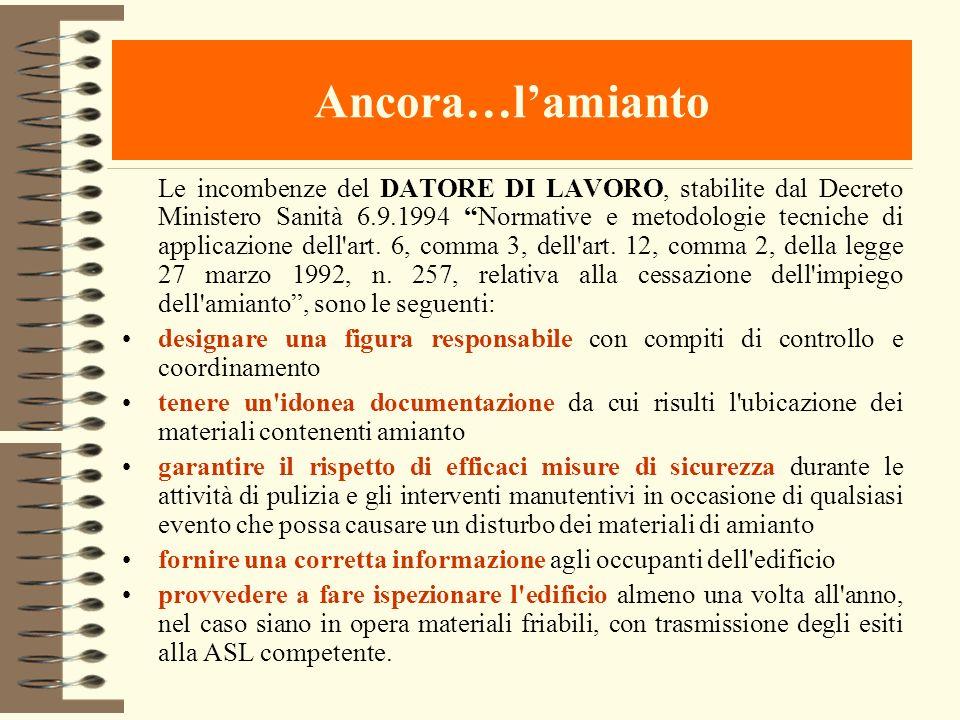 Ancora…lamianto Le incombenze del DATORE DI LAVORO, stabilite dal Decreto Ministero Sanità 6.9.1994 Normative e metodologie tecniche di applicazione d