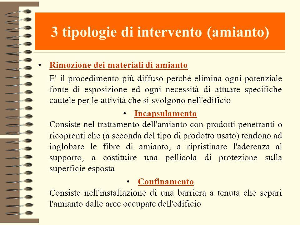 3 tipologie di intervento (amianto) Rimozione dei materiali di amianto E' il procedimento più diffuso perchè elimina ogni potenziale fonte di esposizi