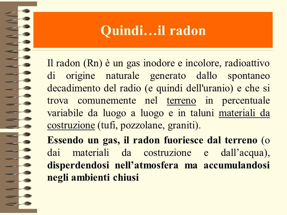 Quindi…il radon Il radon (Rn) è un gas inodore e incolore, radioattivo di origine naturale generato dallo spontaneo decadimento del radio (e quindi de